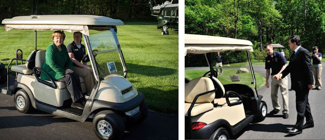G8 leaders Angela Merkel and Barroso ride in golf carts at Camp David G8 Summit