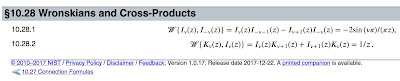 Wronskians involving Modified Bessel Functions, from the Digital Library of Mathematical Functions.
