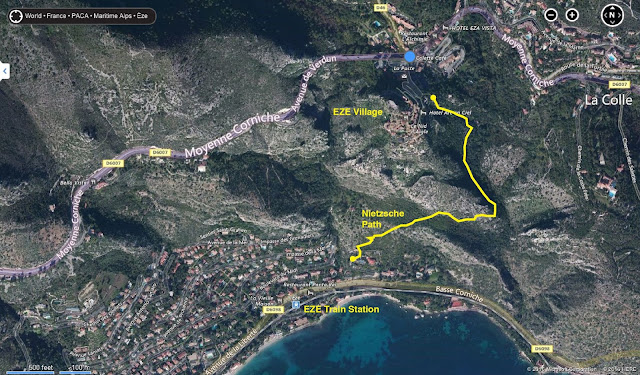 Nietzsche Path Trail Hike, Map, Route, Eze Village, near Nice / Monaco, France