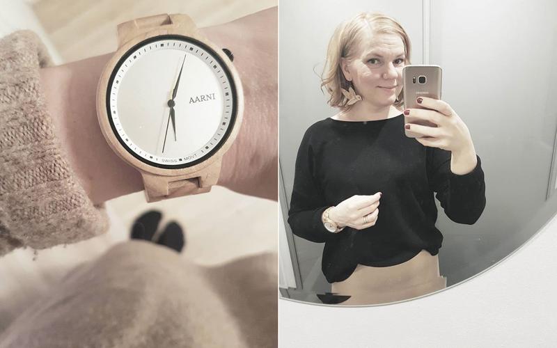 selfie ja puinen kello