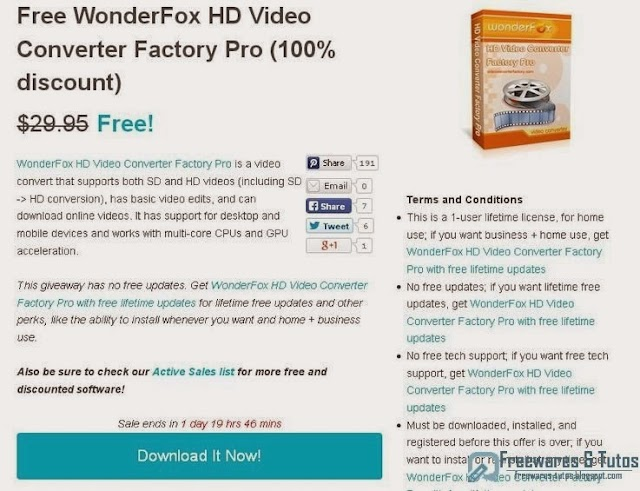 Offre promotionnelle : Wonderfox HD Video Converter Factory Pro gratuit ! (2ème édition)