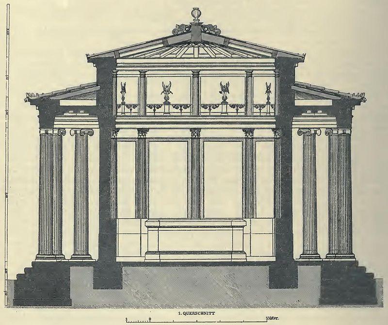 Καλλιτεχνική αναπαράσταση του ναού (κάθετη τομή) από τον αρχιτέκτονα Φρίντριχ Άντλερ