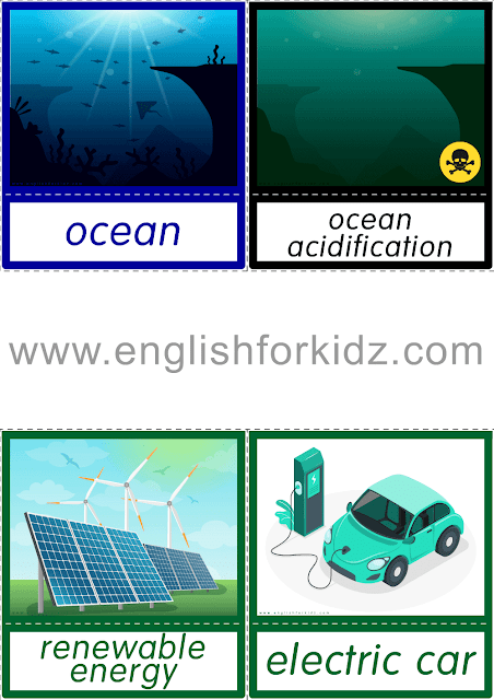 Printable global warming flashcards for English lessons
