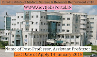 UP Rural Institute of Medical Science & Research Recruitment 2018– 19 Professor, Assistant Professor