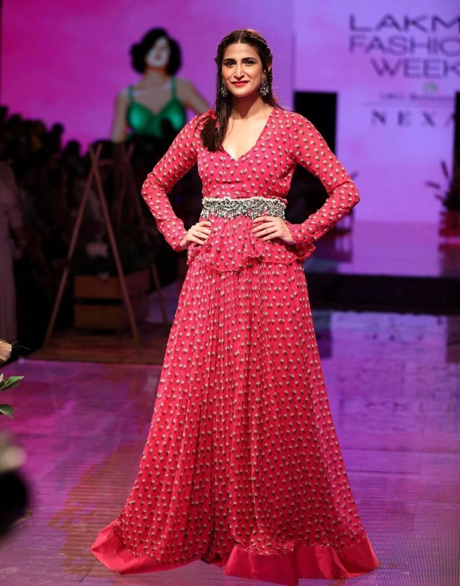 Beautiful Indian model Aahana Kumra At Lakme Fashion Week 2019