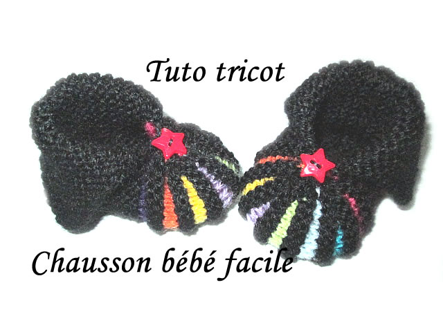 les tutos de fadinou tuto tricot chausson bebe multicolore facile. Black Bedroom Furniture Sets. Home Design Ideas