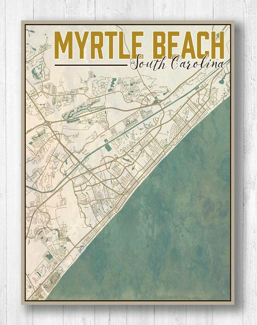 Coastal Map Art Prints Retro Vintage Style