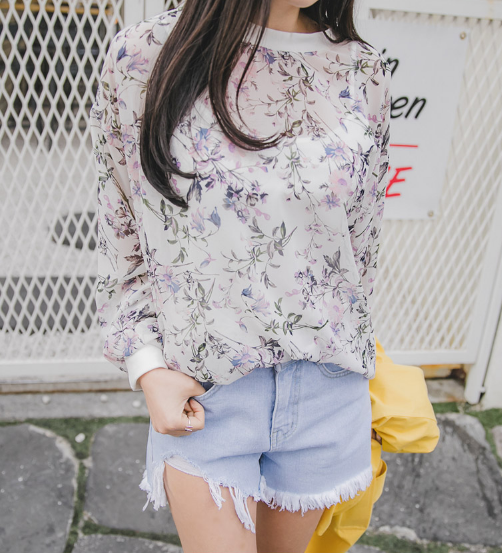 Sheer Floral Pullover