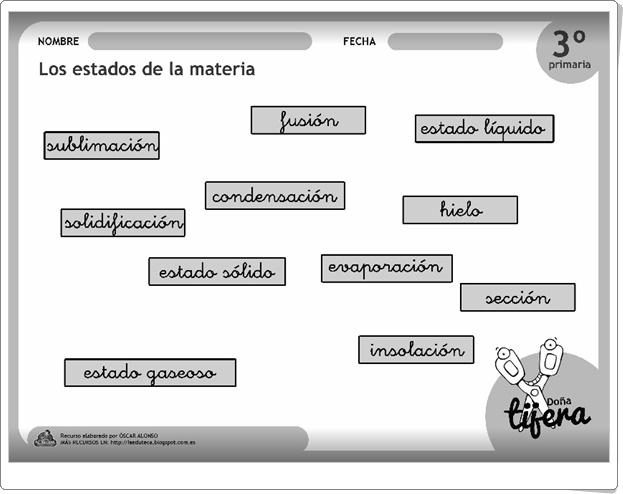 """""""Los estados de la materia"""" (Fichas recortables de Ciencias Naturales de Primaria)"""
