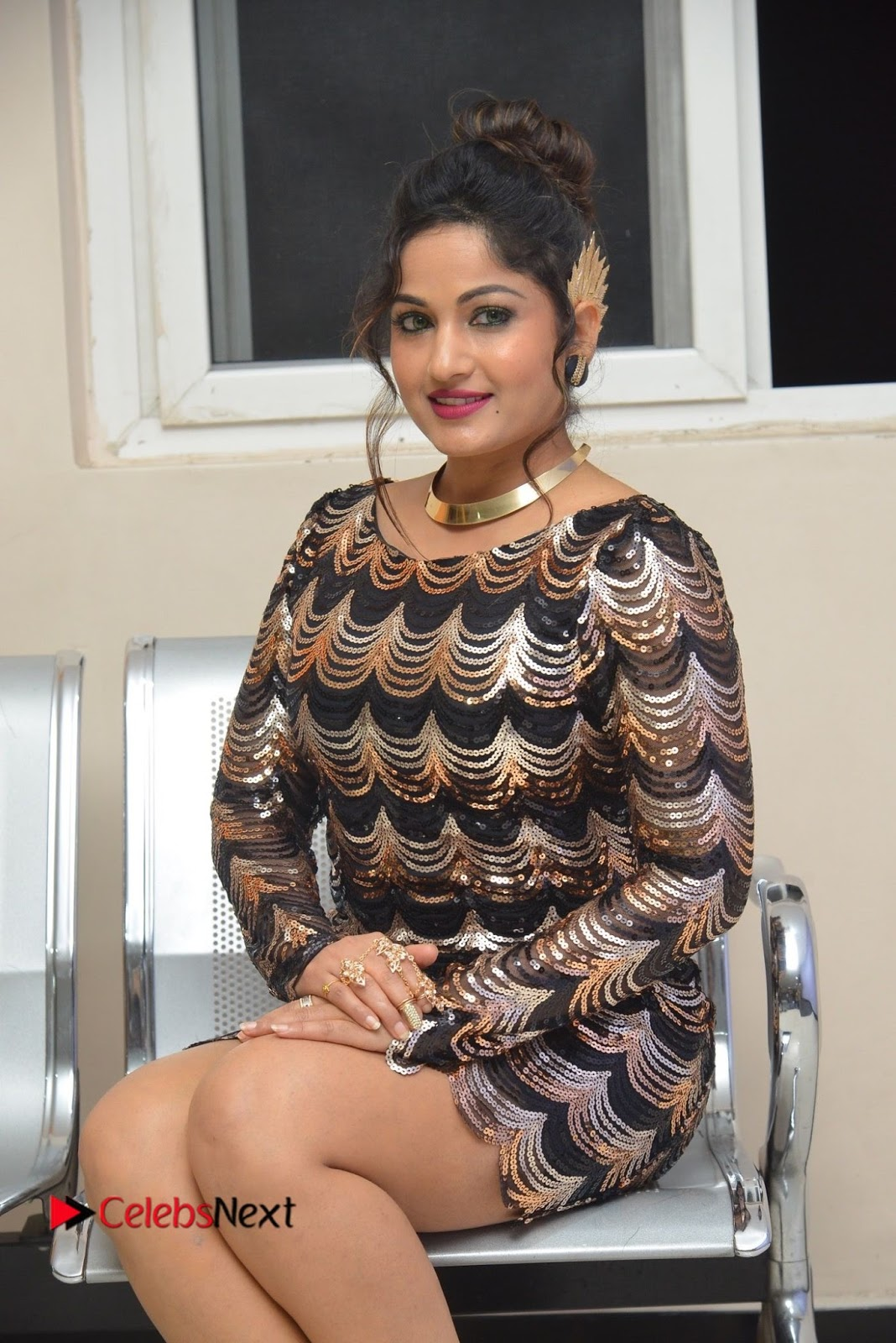 Actress Madhavi Latha  Pictures in Short Dress at On Mona Birthday Premiere  0041.JPG
