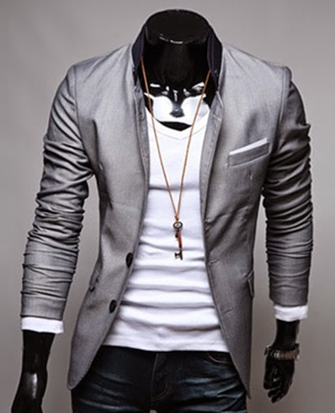 Blazer Casual Slim Fit Estilo Fashion - Dois Botões - Detalhes na Gola - Cinza (MH898)