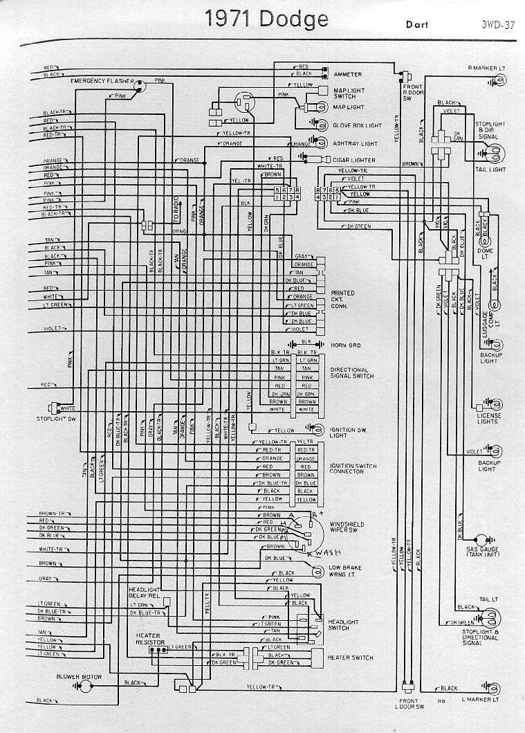 Interior Electrical Wiring Diagrams Of 1971 Dodge Dart