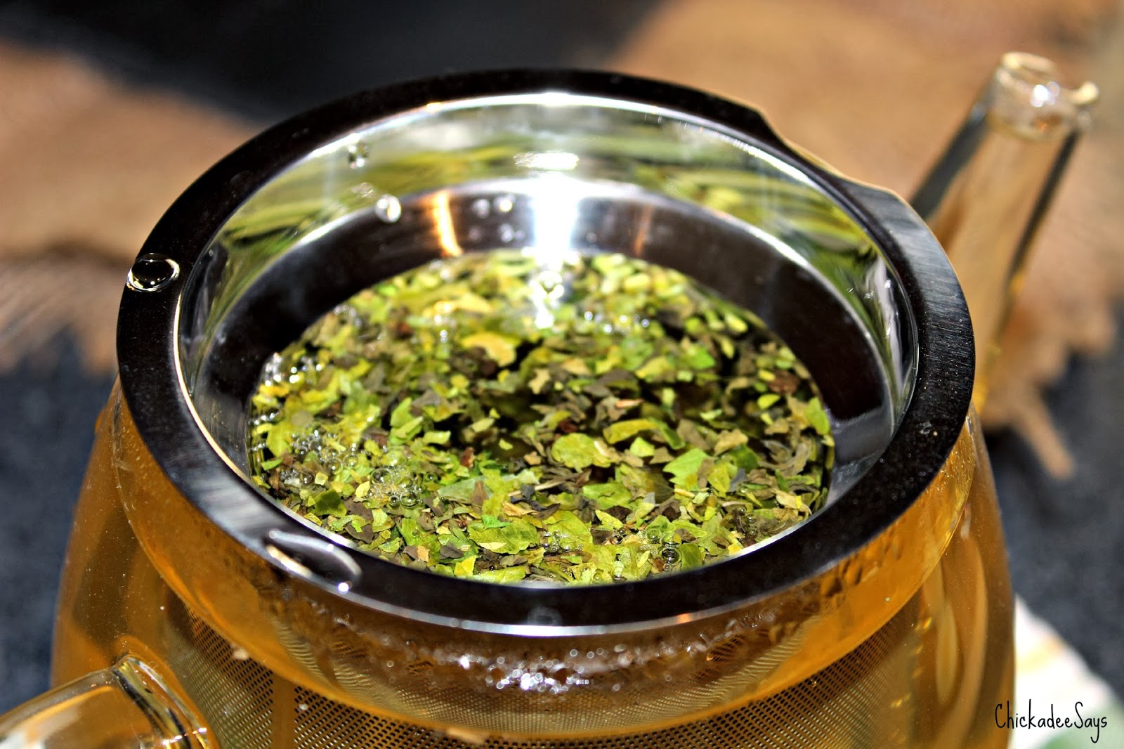 Pour hot water over the dried herbal mixture, cover, and let the hot water steep for 8-10 minutes.