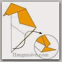 Bước 9: Gấp cạnh giấy vào trong giữa hai lớp giấy.