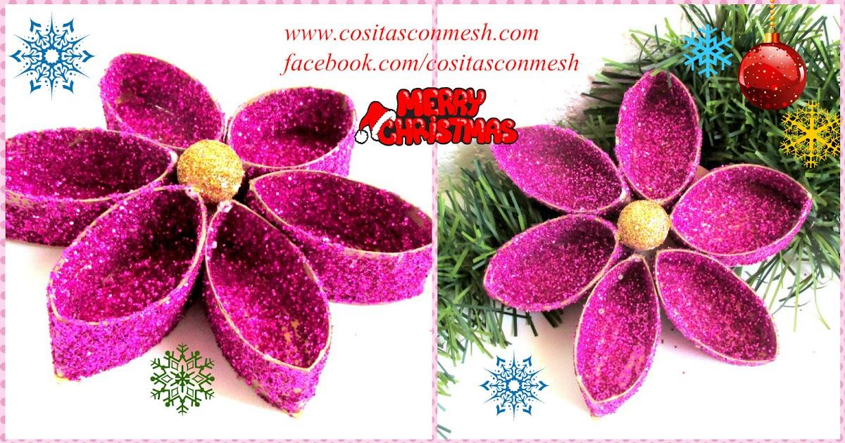 Flores navide as reciclando tubos de papel higi nico for Materiales para manualidades navidenas