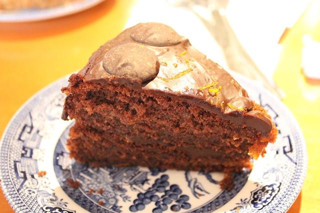 chocolate and orange cake in beatrix potter tea rooms