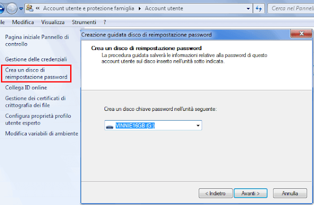 Windows procedura crea disco reimpostazione password