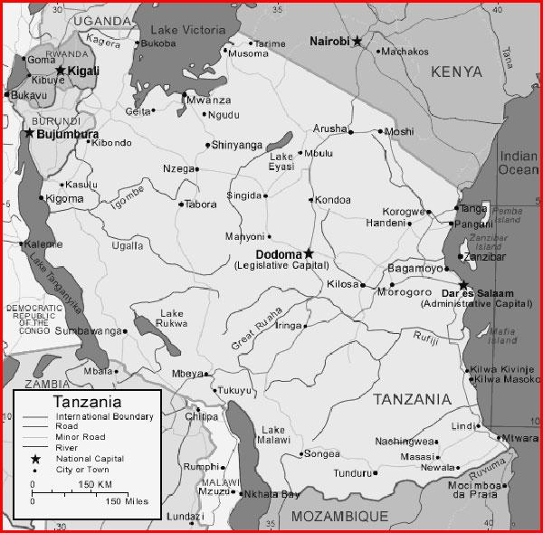 image: Black and white Tanzania map