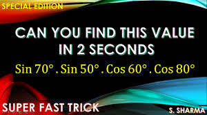 1000 SHORTCUT TRICKS IN MATHS:- TRIGONOMETRY TRICK