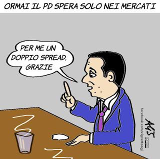 renzi, pd, spread, economia, politica, mercati finanziari, vignetta, satira