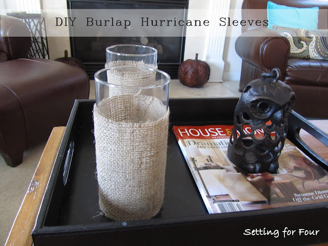 DIY Burlap Hurricane Sleeves from Setting for Four