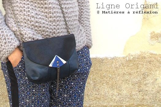 Pochette Origami bleue et noire