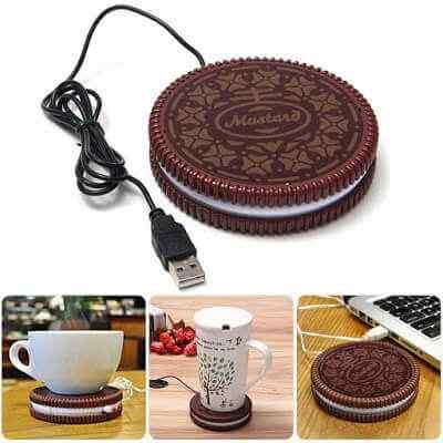 Mustard-USB-Cup-Mug-Warmer-Coaster-Dark-Brown Heating at home