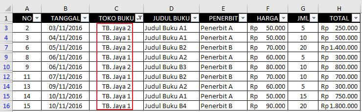 Autofilter Data Pada Excel 9