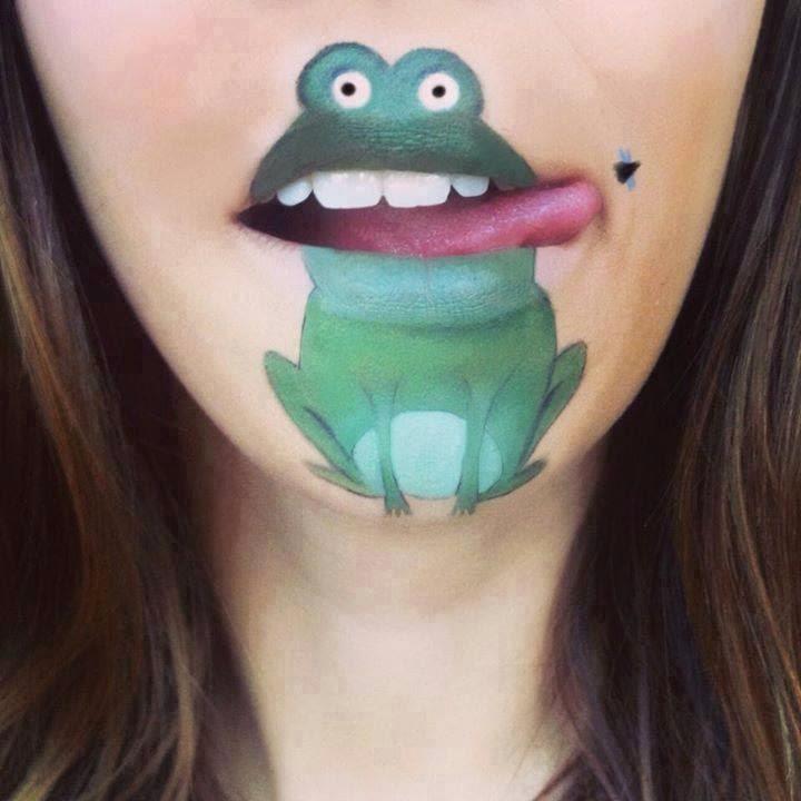 Rana pintada en la cara