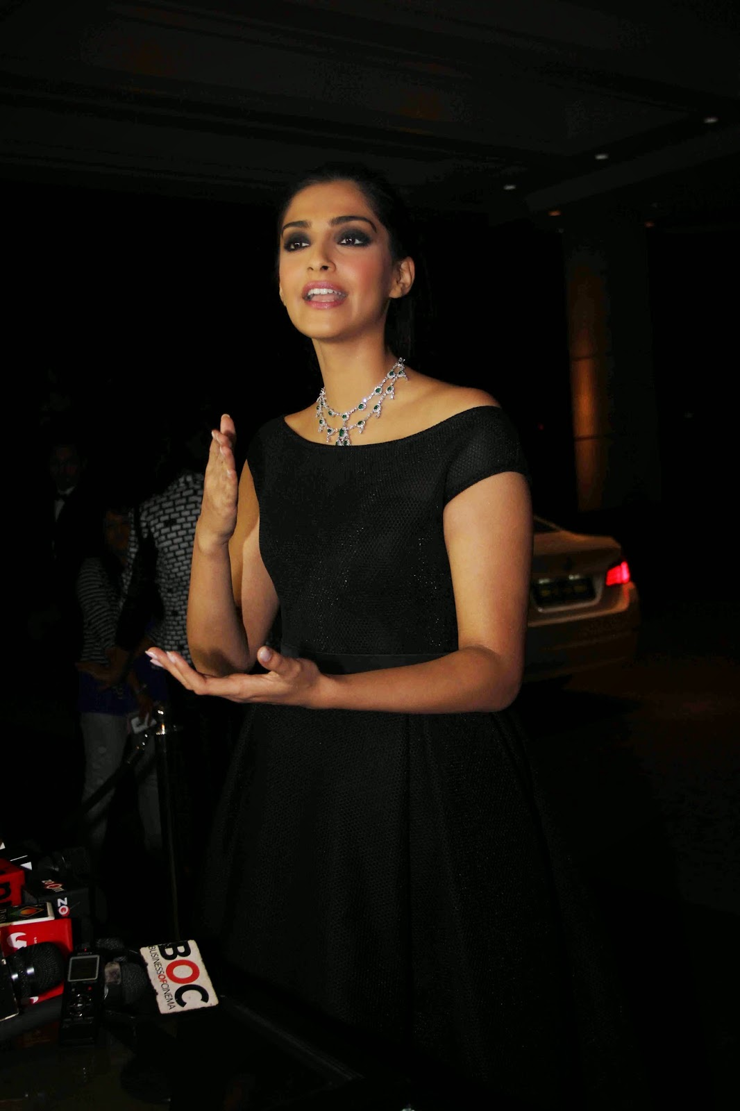 Glamours Hindi Actress Sonam Kapoor Hot Photos In Black Dress