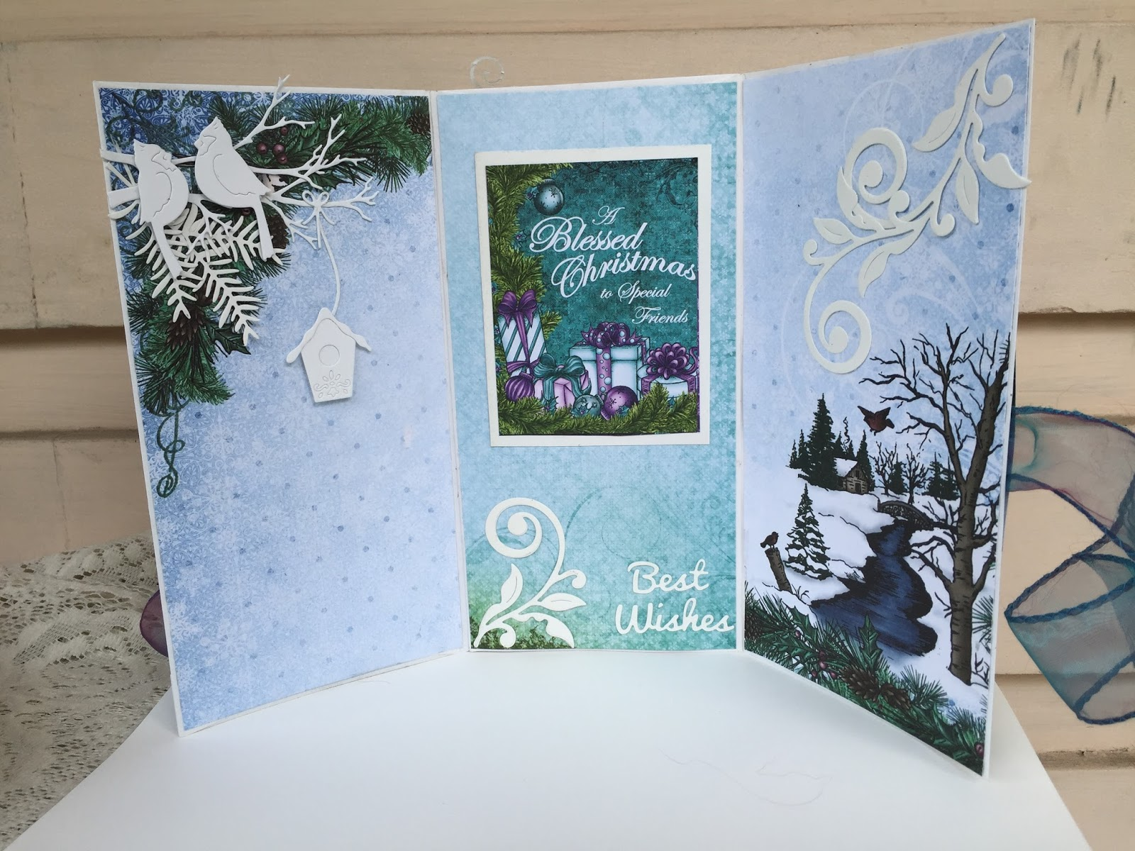 tri fold christmas card with cottagecutz dies - Tri Fold Christmas Cards