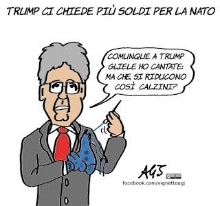 Gentiloni, NATO, Trump, spese militari, satira, vignetta