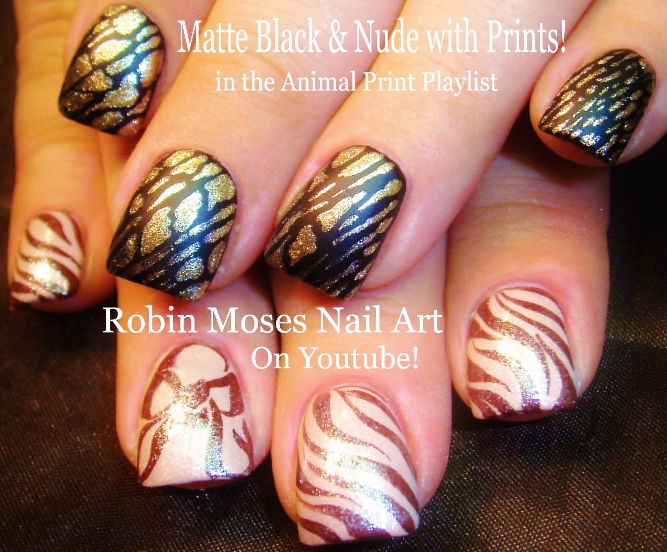 Nail Art by Robin Moses: Fall Nails! Matte Black and Nude Pink ...