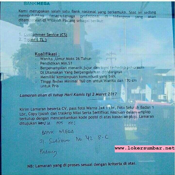 Lowongan Kerja di Padang – PT.Bank Mega, Tbk – Customer Service & Teller (Closed 2 Maret 2017)