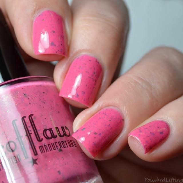 pink nail polish with flakies
