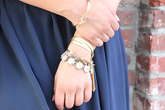 LE TOTE Gold Arm Party Gold Leather Wrap Bracelet