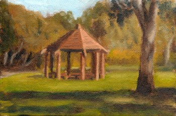 Oil painting of a wooden rotunda in a park with Australian native trees.