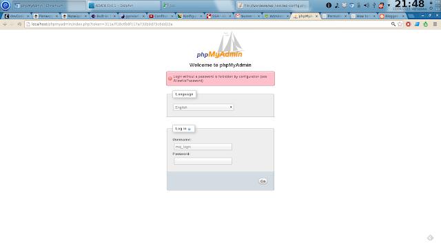 widok panelu logowania phpMyAdmin z informacją: Login without a password is forbidden by configuration (see AllowNoPassword)