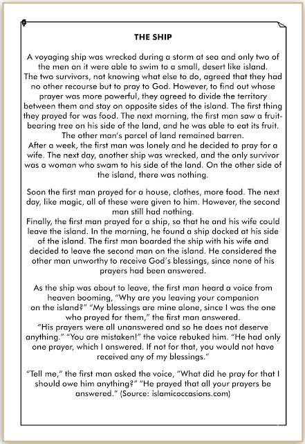 cerita bahasa Inggris singkat tentang doa