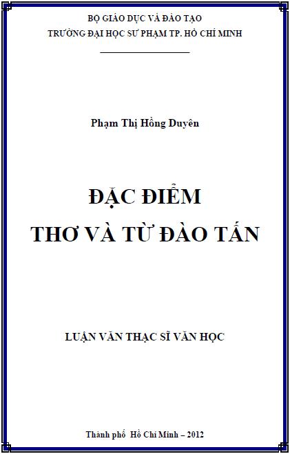 Đặc điểm thơ và từ Đào Tấn