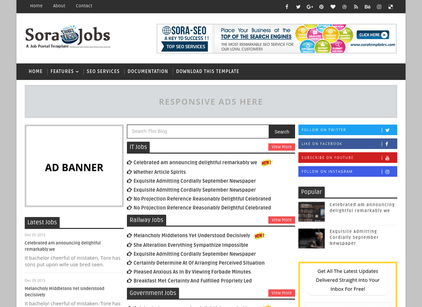 jobs template for blogger  Sora Jobs Blogger Template | High Quality Free Blogger Templates