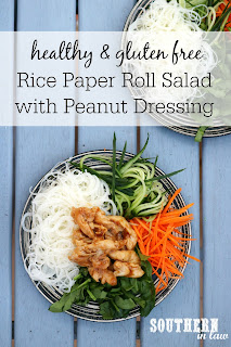 Gluten Free Rice Paper Roll Salad Recipe with Creamy Peanut Dressing