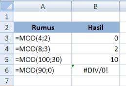 cara menggunakan rumus MOD Excel