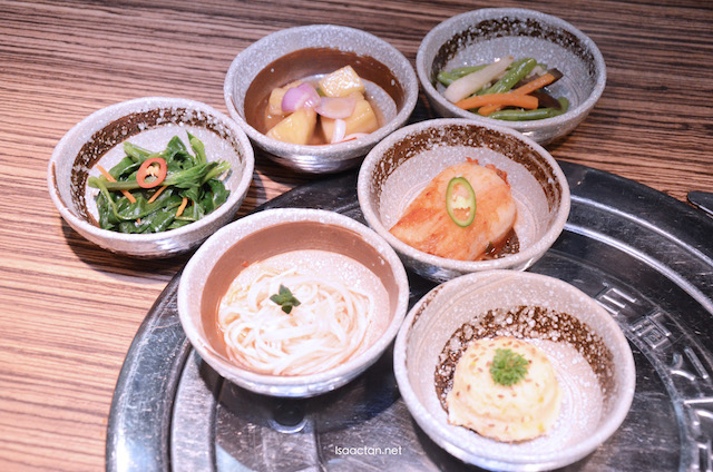 A variety of banchan, refillable