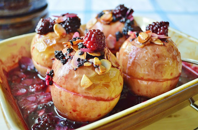 Blackberry Stuffed Baked Apples in a dish