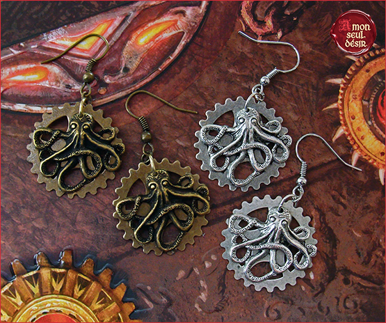 Boucles D Oreilles Steampunk Pieuvre Poulpe Kraken Bijoux Rouage Engrenage Mécanisme Earrings Octopus Clocktopus Jewelry clockwork wheelgear retrofuturism