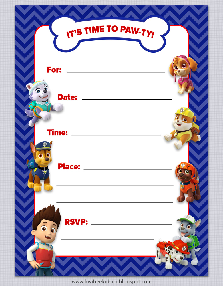 Old Fashioned image for free printable paw patrol invitations