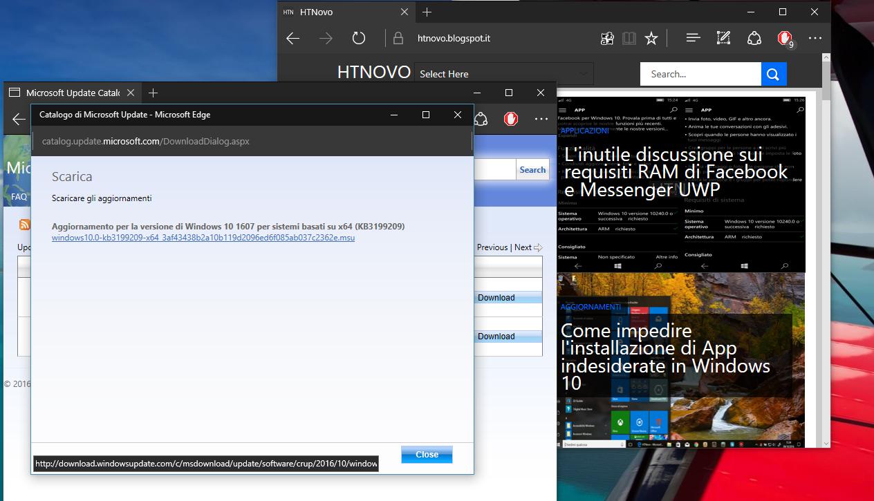 Come installare manualmente gli Aggiornamenti di Windows 10 4 HTNovo Click sul Link finestra successiva