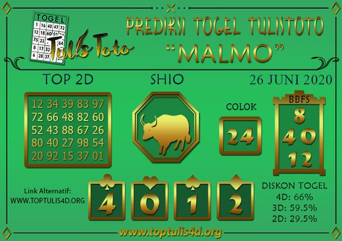 Prediksi Togel MALMO TULISTOTO 26 JUNI 2020