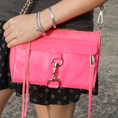 Rebecca Minkoff neon pink mini MAC bag | away from the blue